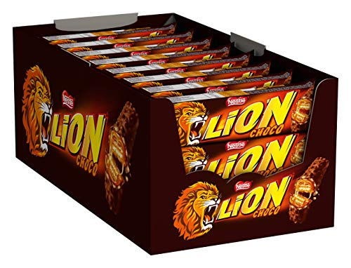 Nestlé LION Schokoriegel mit Karamell, bissiger Snack, knackige Schokolade & knusprige Crisps, Karamellfüllung, das besondere Beißerlebnis, 24er Pack (24 x 42g)