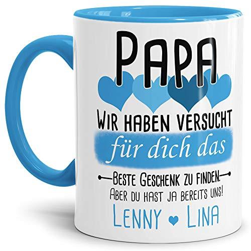 Tassendruck Geschenk Tasse mit Spruch PERSONALISIERT Papa von Kindern - Kaffee-Tasse/Geschenkidee Geburtstag Vatertag/Vatertagsgeschenk - Innen & Henkel Hellblau