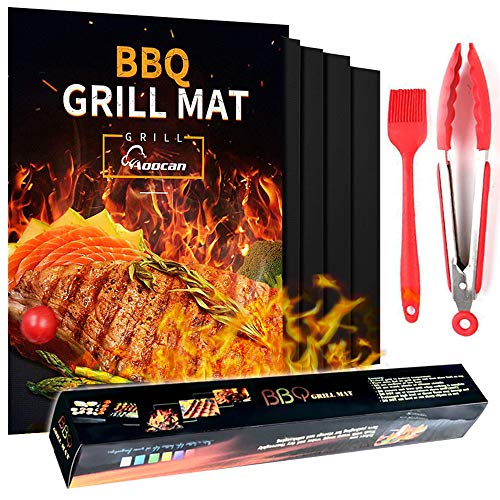 GiftParty Grill Mat Set Non Stick 5+2 Pcs - 15.75 x 13 Inch BBQ Teflon Reusable BBQ Grilling Mats for Gas Grill or Charcoal or Roast Sheets, with Oil Brushe and Meat Tongs Grill Toppers