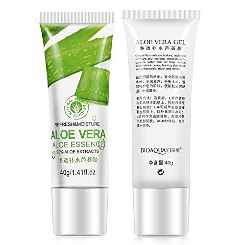 Aloe Gel for Face, Crème de soin du visage à l'acide hyaluronique, Hydratant anti-âge blanchissant anti-âge pour le visage et les yeux, pour les rides, le teint irrégulier, les ridules