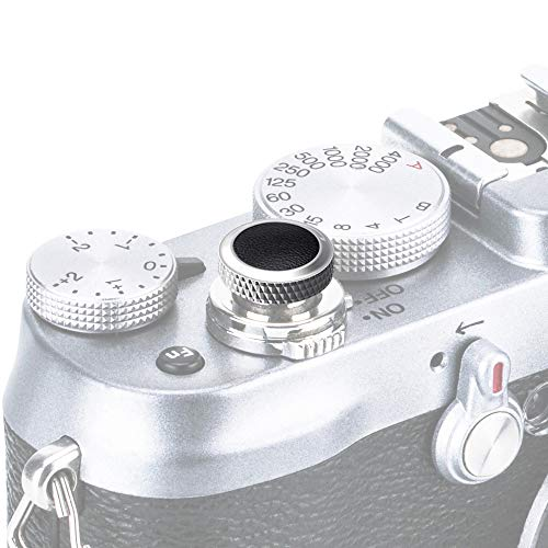 PROfezzion Deluxe Métallique Soft Déclencheur pour Fujifilm X-PRO3 X-PRO2 X-PRO1 etc. Appareils Photo (Gris avec Noir Microfibre Cuir Surface)