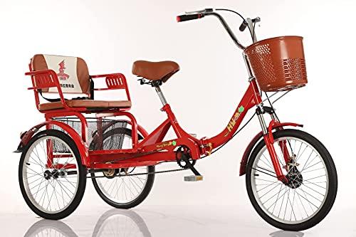 FGVDJ Triciclo Plegable para Adultos, Pedal de accionamiento Humano, 3 Ruedas, Bicicleta...