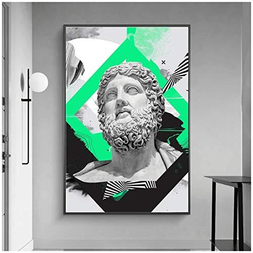 XuFan Retrato de Zeus Vaporwave Escultura Pinturas en Lienzo en la Pared Arte Carteles e Impresiones Graffiti Escultura Abstracta Imagen-20X28 Pulgadas Sin Marco