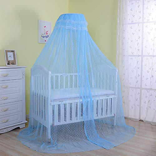 Cdycam Baby Infant Toddler Bed Dome Cots Mosquito Netting Hanging Bed Net Mosquito Bar Frame Palace-Style Crib Bedding Set (Mosquito Net Without Stand, Blue)