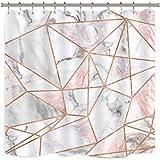 Riyidecor Duschvorhang, geometrisch, marmoriert, gestreift, weiße Linien, realistische Kunst, bedruckter Stoff, wasserfest, für die Badewanne, Dekor, 12 Stück
