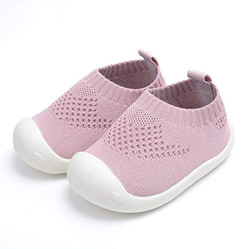GUFANSI Lauflernschuhe Krabbelschuhe Babyhausschuhe Weicher Baby 0-6 Monate Mädchen Kleinkind 1-4Y (Pink EU18)