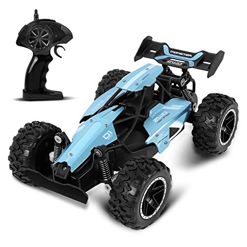 Rabing Remote Control Car, 2.4 GHz 1:18 RC Vehicle, 15 km/h High Speed Radio Control Car 2WD Racing Car Buggy Car with Rechargable Battery, Best Gift for Kids and Adults (Blue)