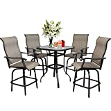 5PCS Outdoor Furniture Swivel Bar Set, Height Chairs Patio Bistro Set, All-Weather 360 Degree Swivel Furniture Bar Chair, Patio Furniture Sets Suitable for Yard, Lawn, Garden(4 Bar Stools&1 Table)