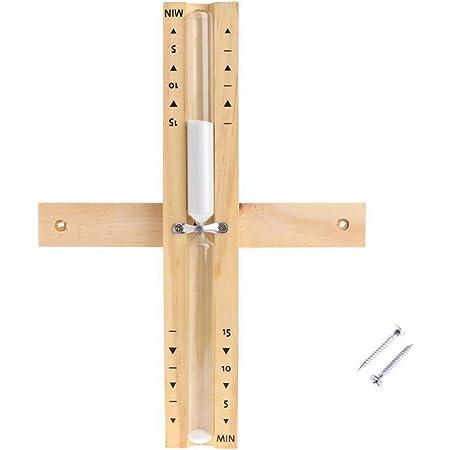 inherited Sauna Sablier(15 Minutes) avec minuteur rotatif, Minuteur sablier en bois avec vis pour enfants jeux de cuisine en classe brossage bureau à domicile - blanc