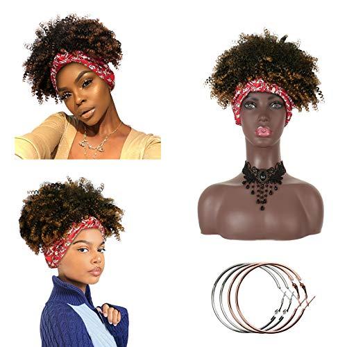 Peluca con diadema, rizado, afro, rizado, corto, turbante, pelucas para mujeres negras, sintético, Afro Puff, cordón, envoltura completa, Updo, pelucas, fiesta / vestido elegante