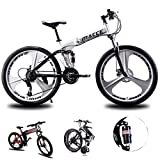 Bicicleta de montaña Hombres Mujeres, bastidor de suspensión plegable de aluminio ligero completo de bicicletas 21/24/27 Velocidad, tres crucero de ruedas de doble freno de disco,Blanco,26inch 24speed