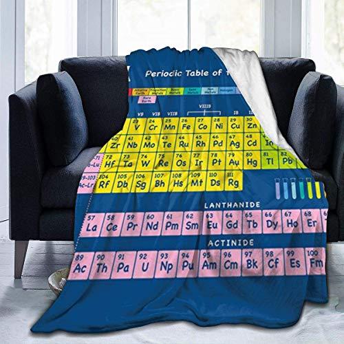 Lawenp Tabla periódica de Elementos Manta de Tiro súper Suave, cálida, acogedora y Ligera, Manta para Cama, sofá, Funda de sofá, Sala de Estar, Manta Negra, 60 x 50 Pulgadas