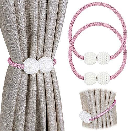 Pinowu Magnetische Vorhang Raffhalter Vorhang Clips Seil (2 Stück), Vorhang Halter Schnallen Gardinenhalter für Haus Dekoration (Rosa)