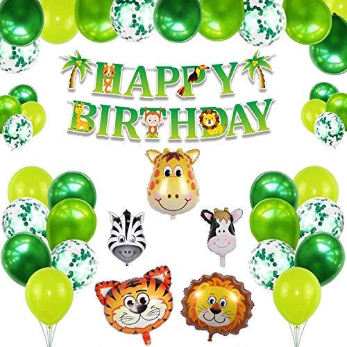 Animales de granja para decoraciones de cumpleaños de niños, globos de animales de la selva, decoraciones de globos de fiesta de cumpleaños feliz