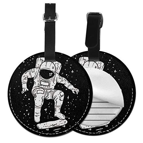 Kofferanhänger PU Leder Galaxy Astronaut Skater Skateboard Raumfahrer Weihnachten, Gepäckanhänger ID Etikett Mit Adressschild Namenschild für Reisetasche Koffer