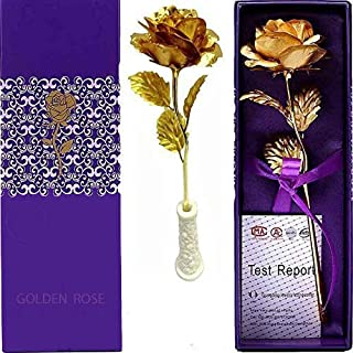 MSA JEWELS 24K Golden Red Rose with Ceramic Stand for Loved Ones, 10-inches