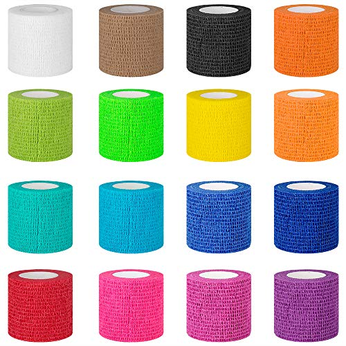 """【16-Pack】 2""""x 5 Yards Self Adhesive Bandage Wrap - Vet Wrap Breathable Self Adherent Wrap for Dogs Cats Horses Animals - Athletic Elastic Cohesive Bandage Wrap for Wrist Healing Ankle Sprain"""