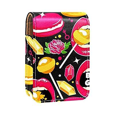 Lip Rose Macaron Diamond Lollipops Imprime l'étui à Rouge à lèvres Mini Sac Organisateur de Support de Rouge à lèvres avec Miroir pour Sac à Main Pochette cosmétique de Voyage