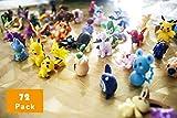72 mini modelos de Pokemon de 2 – 3 cm son aleatorios, mini juguete de monopatín con cordón...