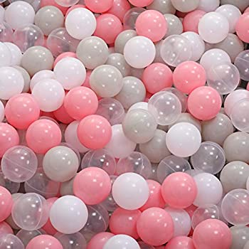 Aprilin Ball Pit Balls Crush Proof Plastic Children s Toy Balls Ocean Balls Small Size 2.15 Inch Phthalate & BPA Free Pack of 100 White Clear Warm-Gray Pink…