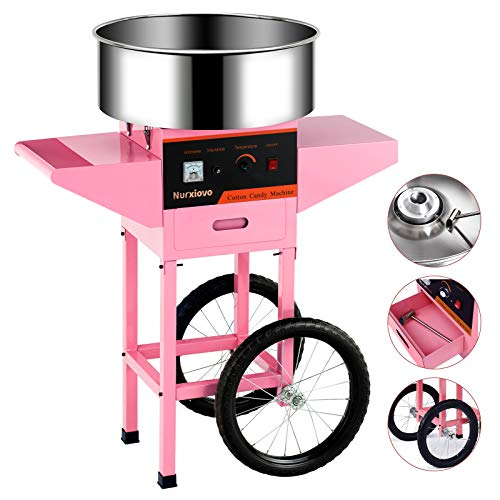 Cotton Candy Machine cart -Nurxiovo Electric Commercial Candy Floss Maker with Cart Stainless Steel Big Drawer Pink for Various Parties,20Inch Pink