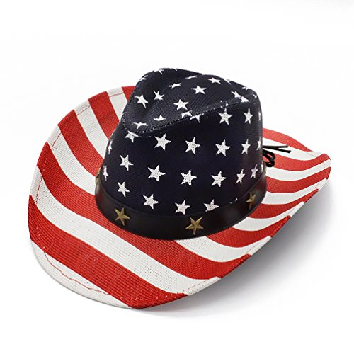 Cowboy Hats, Classic American Flag Summer Sunhat Western Cowboy Hat for Men Boys