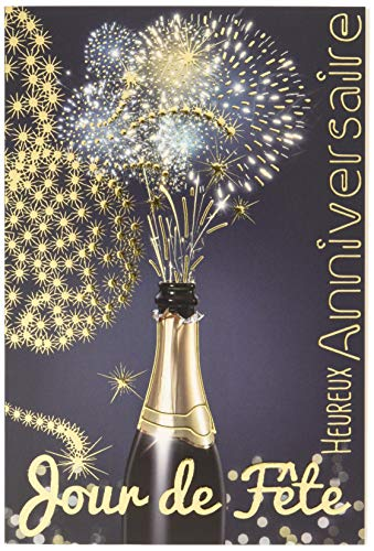 Afie - Biglietto d'auguri per compleanno, giorno di festa, bottiglia di champagne, vino bianco, scintillante, motivo: fuoco d'artificio a stelle, colore: oro