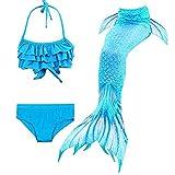 shepretty Meerjungfrau Schwanz mit Bikini-Set für Mädchen,DH06+WJF46,150