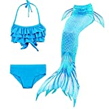 Hejin - Costume da sirena, 3 pezzi, costume da bagno da bambina Dh53 130 cm