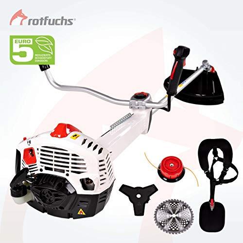 ROTFUCHS® 3in1 Benzin Profi Motorsense mit Antivibrationssystem 3,0PS mit 52ccm Rasentrimmer Freischneider mit Profi Schultergurt