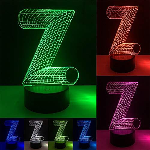 HNXDP 3D Ilusión colorida Alfabeto Letra Z USB Mesa de escritorio táctil Bombilla Led Luz de noche Niño durmiendoAño Cumpleaños Juguetes Regalo