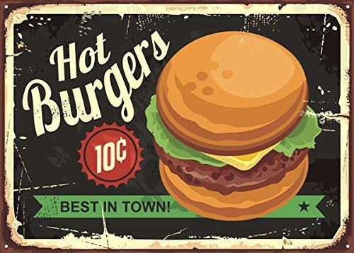 HONGXIN Burgers American Diner - Cartel de metal vintage para decoración de casa, bar, pub, garaje, banda, cerveza, huevos, café, supermercado, granja, jardín, dormitorio