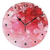 壁掛け時計 おしゃれ 連続秒針 置き時計 見やすい 静音 サイレント 電池式 シンプル モダン 和風 さくら 桜 赤 インテリア かけとけい ウォールクロック 置掛両用 人気 掛け時計