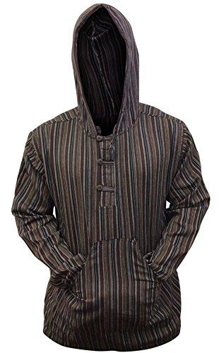 Sudadera con capucha de Shopoholic Fashion, diseño hippie a rayas, tejido muy ligero Marrón COFFEE MIX XXXX-Large