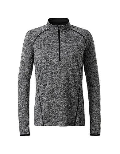 2Store24 Ladies' Sportsshirt Longsleeve in Black-Melange/Black Größe: XS