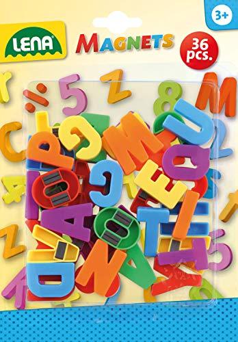 Lena 65745 Magnet Großbuchstaben, ca. 3 cm, 36 Stück, Mehrfarbig