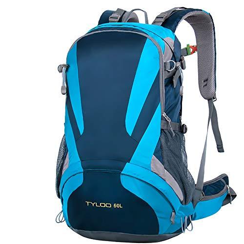 50L Outdoor Randonnée Compartiment pour ordinateur portable Sport Sac à dos en nylon imperméable (bleu)