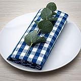 FILU Servietten 8er Pack Blau/Weiß kariert (Farbe und Design wählbar) 45 x 45 cm - Stoffserviette aus 100% Baumwolle im skandinavischen Landhausstil