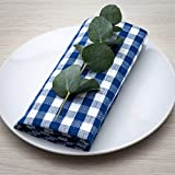 Servilletas FILU, 100 % algodón, azul oscuro / blanco, 8 unidades