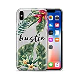 Coovertify Pack Funda Transparente Hustle Flores Huawei P8 Lite 2017, Carcasa de Gel Silicona con Dibujo Estampado + Protector de Pantalla de Cristal Templado para Huawei P8 Lite 2017