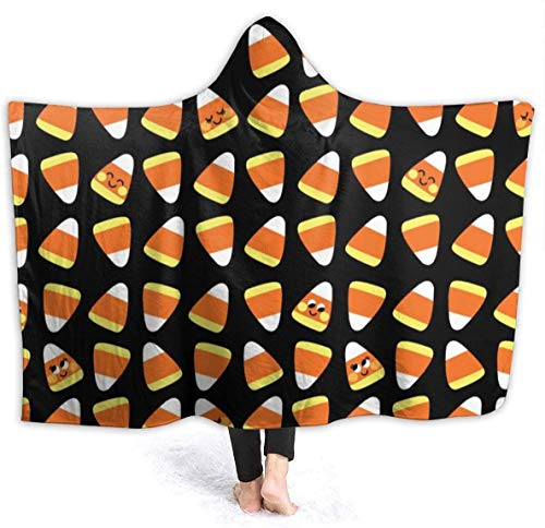 Candy Corn Kawaii Men Hooded Blanket Superweiche Flanelldecke Hoodie Wearable Hooded Robe Kapuzenumhang zum Ansehen von Filmen 50