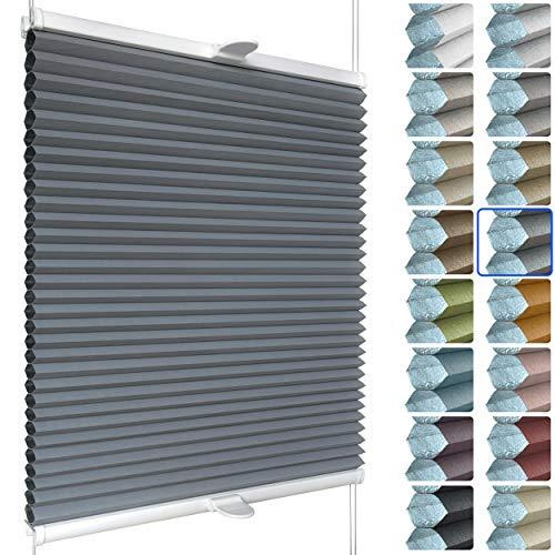 SchattenFreude Waben-Plissee nach Maß für Fenster & Tür | 100% verdunkelnd/Blackout | Zum Anschrauben in der Glasleiste | Anthrazit (Weiße Rückseite), Breite: 90-110cm x Höhe: 30-100cm