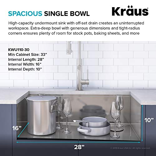 KRAUS KWU110-30 Kore Workstation 30-Inch Undermount 16 Gauge Single Bowl Stainless Steel Kitchen Sink with Integrated Ledge and Accessories (Pack of 5)