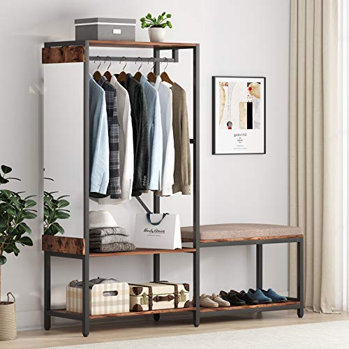 Tribesigns Free Standing Closet Organizer with Shoe Rack and Mirror Hanging Clothes Wardrobe Garment Racks Heavy Duty Clothing Storage Shelving Unit for Bedroom Laundry Room Apartment