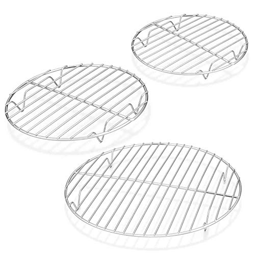 TeamFar Round Cooling Rack Set of 3, 7½ & 9 & 10½ Inch, Stainless Steel Round Baking Steaming Rack Set, Fit for Oven/Pot/Air fryer, Healthy & Dishwasher Safe, Mirror Finish & Smooth Edge