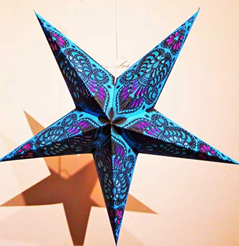 Estrella de papel plegable para colgar, diámetro de 60 cm, pantalla para lámpara de pared o techo, decoración de Navidad, origami, farol, arabesco, color azul