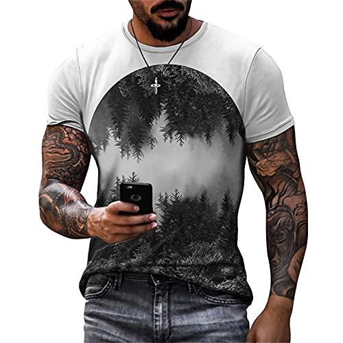Maniche Corte Uomo Moderna Basic Classica vestibilità Regolare Girocollo Uomo Maglietta Estate Paesaggi Stampa Uomo Casual Camicie Quotidiano Casual all-Match Shirt