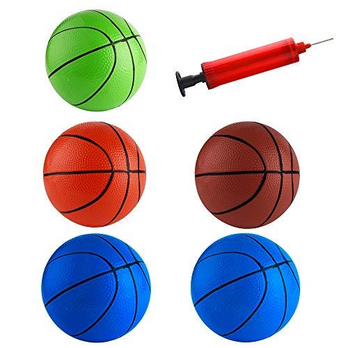 FEPITO 5 Stück 16 cm Mini Basketball Inflation Mini Ball Spielzeug mit Pumpe und Basketball Nadeln für Kinder