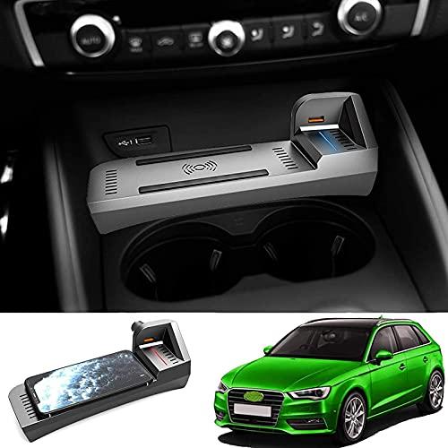 Cargador Inalámbrico para Automóvil Se Aplica a Audi A3 2014-2021 15W QC3.0 Cargador de Consola de Control Central Inalámbrico Carga Rápida con Puertos USB de 18W Almohadilla de Carga Inalámbrica