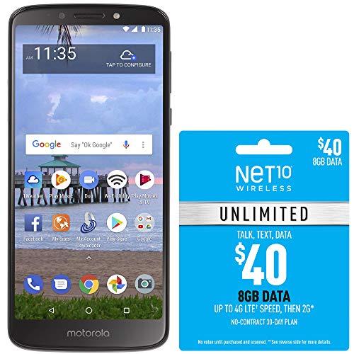 Net10 Motorola e5 4G LTE Prepaid Smartphone with Free $40 Airtime Bundle